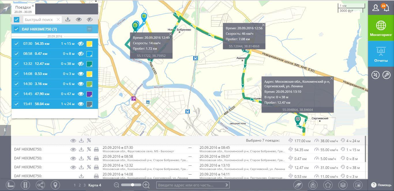 ГЛОНАСС мониторинг маршрута транспорта, автомобилей, автобусов
